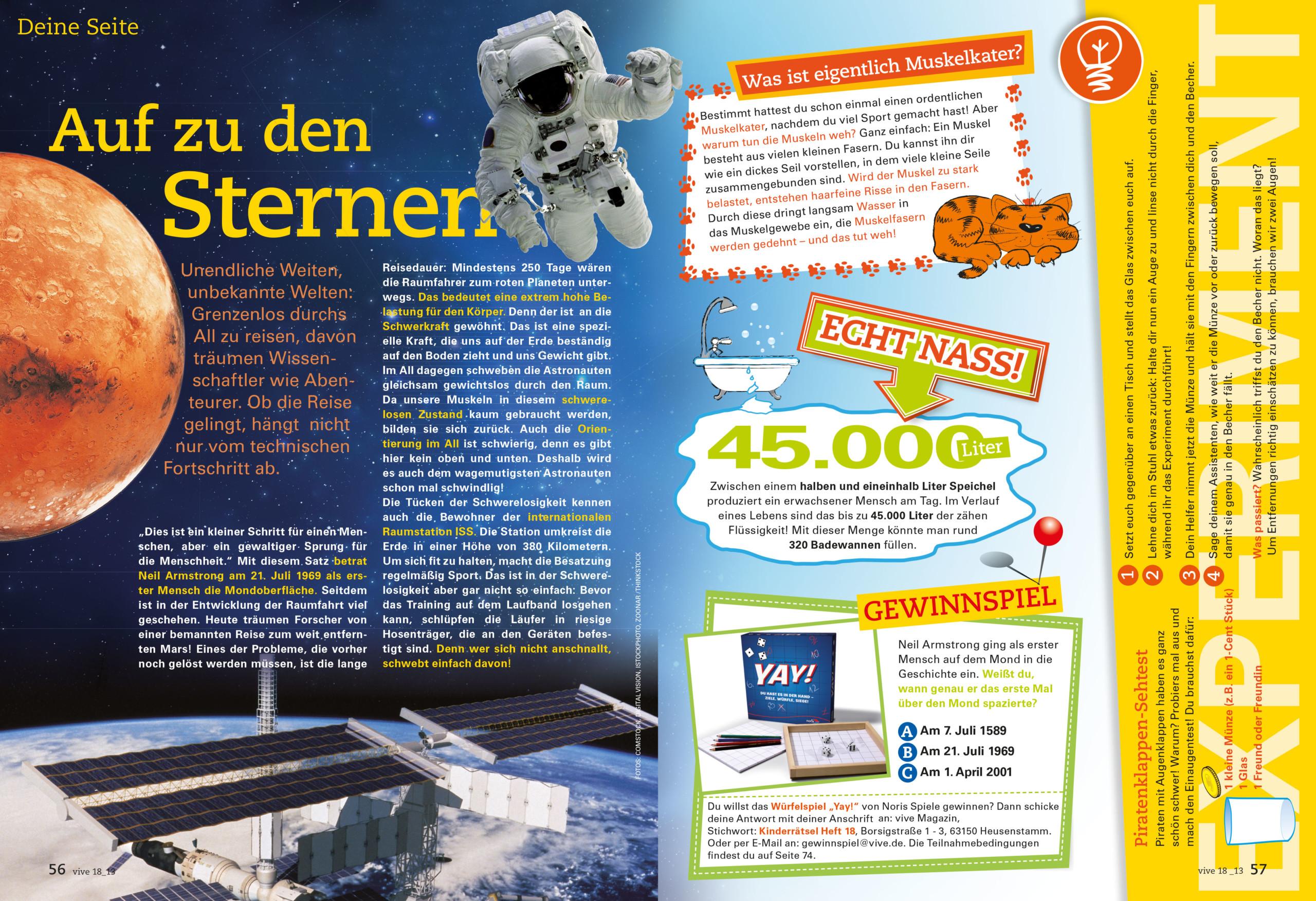 VIVE / ALPHEGA Kundenmagazin – Kinderseiten Thema Sterne